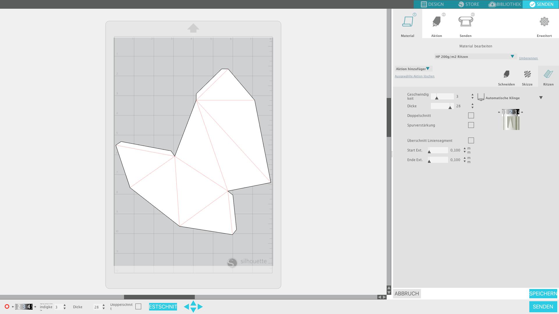 Material-Einstellung zum Ritzen von 200g/m2 Papier